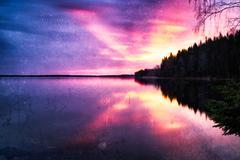 Horizontal vintage sunset on mountain lake background backdrop Kuvituskuvat