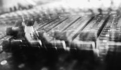 Black and white mixing console motion abstraction Stock Photos