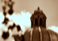 Horizontal vibrant sepia cyberpunk exploding capitol abstraction - stock photo