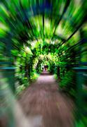 Green corridor motion zoom abstraction Stock Photos