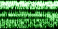 Horizontal green matrix information data abstraction background Stock Photos
