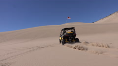 Sand Dunes recreation 4x4 sxs ride away up hill 4K Stock Footage
