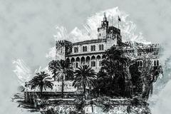 Almudaina palace Stock Illustration