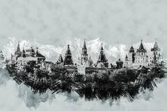 Izmaylovo Kremlin in Moscow, Russia - stock illustration