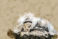 Karlstejn castle on green hill, Prague Stock Illustration