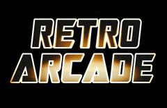 Horizontal warm glow retro arcade text illustration background Stock Illustration