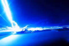 Horizontal vivid blue lightning blank abstract background - stock illustration