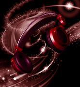 Realistic headphones with stars dust Stock Illustration