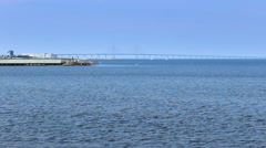 Malmo Coast  Sea ,Oresund Bridge in Sea  Stock Footage