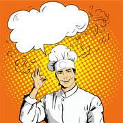 Chef with speech bubble shows OK sign. Vector illustration in retro comic pop - stock illustration