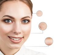 Beautiful young woman face with zoom wrinkles - stock photo