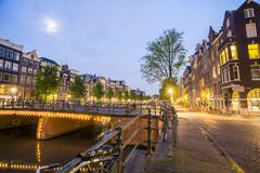 Charming houses and canal in Amsterdam, The Netherlands Stock Photos