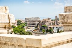 Colosseum taken from Il Vittoriano monument, Rome, Italy - stock photo