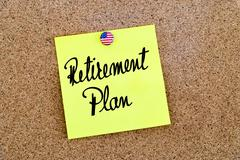 Written text Retirement Plan over yellow paper note Stock Photos