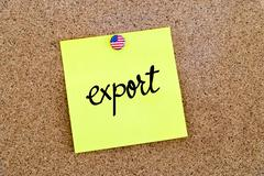 Written text Export over yellow paper note - stock photo