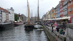 Copenhagen Nyhavn Canal pier Stock Footage