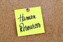 Written text Human Resources over yellow paper note - stock photo