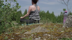 Crane shot of woman and yoga Stock Footage
