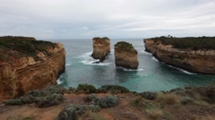 Static view of Island Archway on Great Ocean Road, Victoria Australia Stock Footage