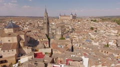 Aerial citiscape Toledo Spain Alcazar cathedral roofs architecture. Stock Footage