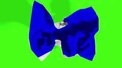 blue, rolling crumpled paper effect, with chroma key green screen background - stock footage