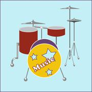 Drum set flat icon - stock illustration