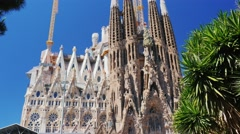 The famous Sagrada Familia temple in the summer. In the picture, no people Stock Footage