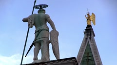 Venice, St Marks Plaza, with two statues on spires and columns Stock Footage