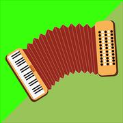 Accordion on the two-color background Stock Illustration