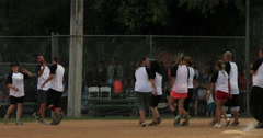 Softball teams at end of game sportsmanship DCI 4K Stock Footage