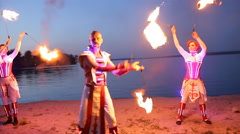 Fireshow performance with burning torch at evening outdoor Stock Footage
