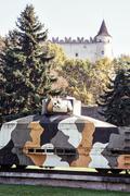 Replica of armored train Hurban now located near castle in Zvolen city, Slova - stock photo
