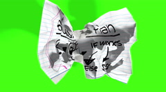 rolling crumpled paper effect, with chroma key green screen background - stock footage