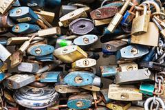 Locks of love background, symbolic objects Stock Photos