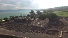 Capernaum - Ruins overview - Lake Kinneret - Greek Orthodox Monastery_01 Stock Footage