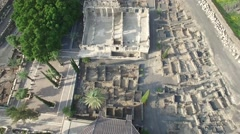 Capernaum - The Synagogue - Ruins overview Stock Footage