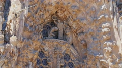 Sculptures, figures and molding on the walls of the famous Sagrada Familia Stock Footage