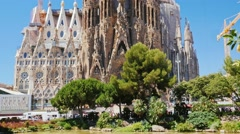 One of the most popular tourist spots in Barcelona - Sagrada Familia church Stock Footage