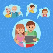 Family vector illustration flat style social media communications. Man woman Stock Illustration