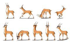Antelope Gazelle  Image Isolated on White Background Stock Illustration