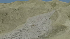 Dried Lava Of A Mud Volcano,forming small hills and alleys,panoramic view - stock footage