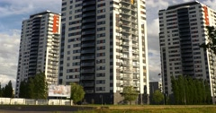 Apartment buildings. Multistoried modern and stylish living block of flats. 4k Stock Footage