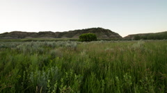 Time lapse - grass in breeze as sun light hits hills and meadow Stock Footage