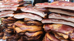 Smoked dried Bacon Stock Footage