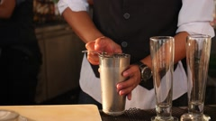 Bartender Making Cocktail, Fresh Juice at Bar Counter with Shaker Stock Footage