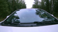 Trees reflected in car window. Windshield reflection. Car driving on a Country Stock Footage