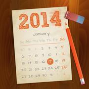 Calendar January 2014 vintage paper note on wood background vector illustrati Stock Illustration