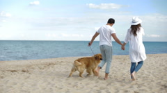 Couple walking on the sea shore with dog and holding hands - stock footage