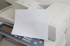 Copy machine needs to be fix, printer failure Stock Photos