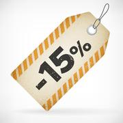 Realistic paper 15% sale off price vector label. isolated from background. la - stock illustration